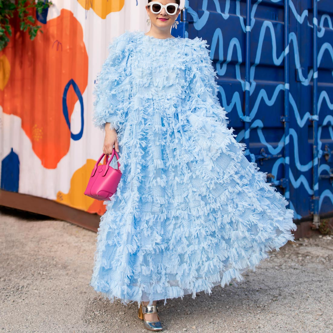 Jennifer Lake ASOS Edition Baby Blue Fringe Dress