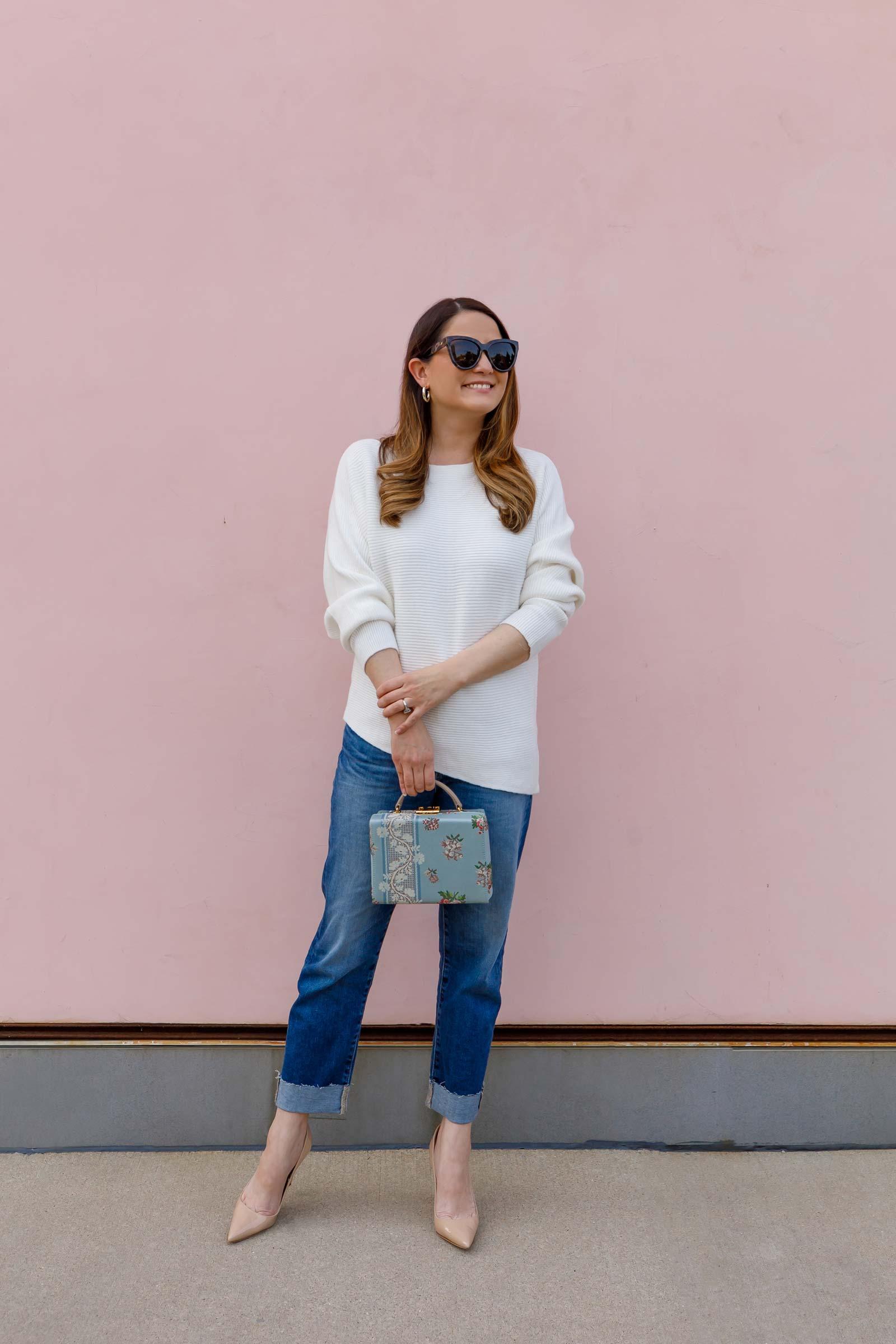 Jennifer Lake Boyfriend Jeans White Sweater