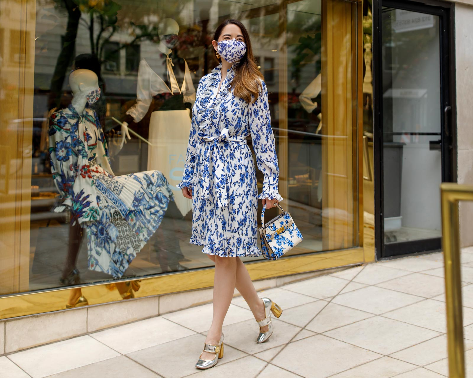 Jennifer Lake Tory Burch Blue Floral Dress