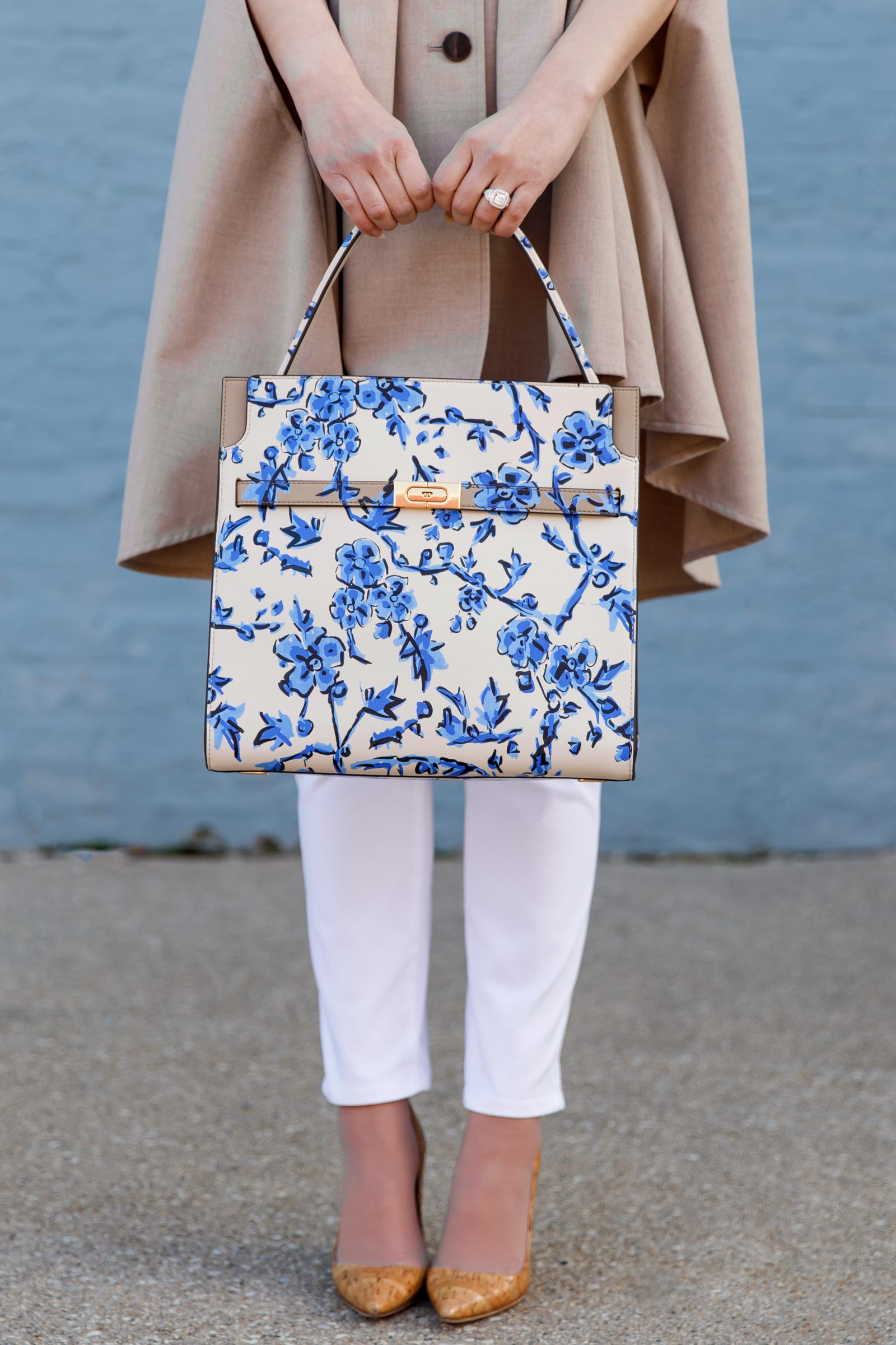 Jennifer Lake Tory Burch Blue Floral Bag