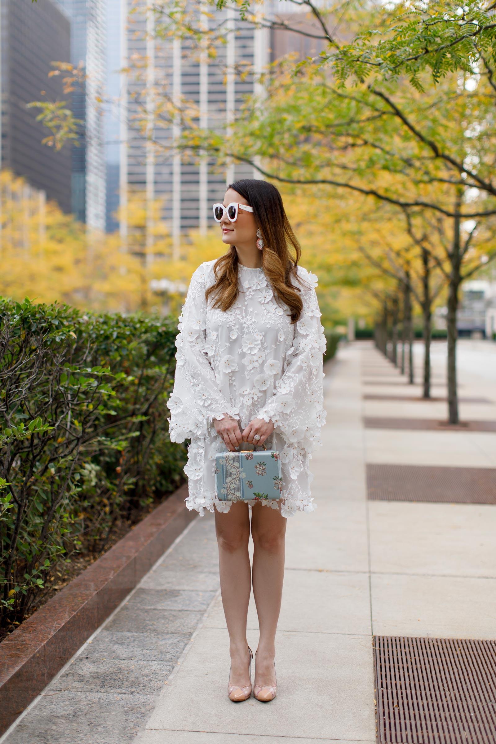 Jennifer Lake White Floral Dress
