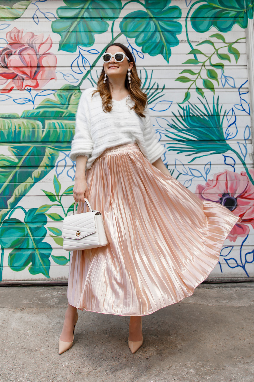 Rose Gold Pleated Skirt