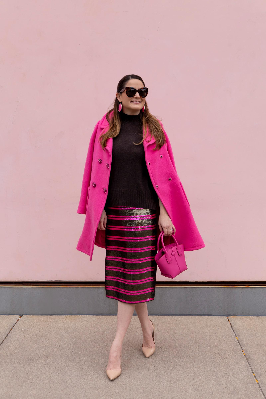 J. Crew Pink Stripe Sequin Skirt