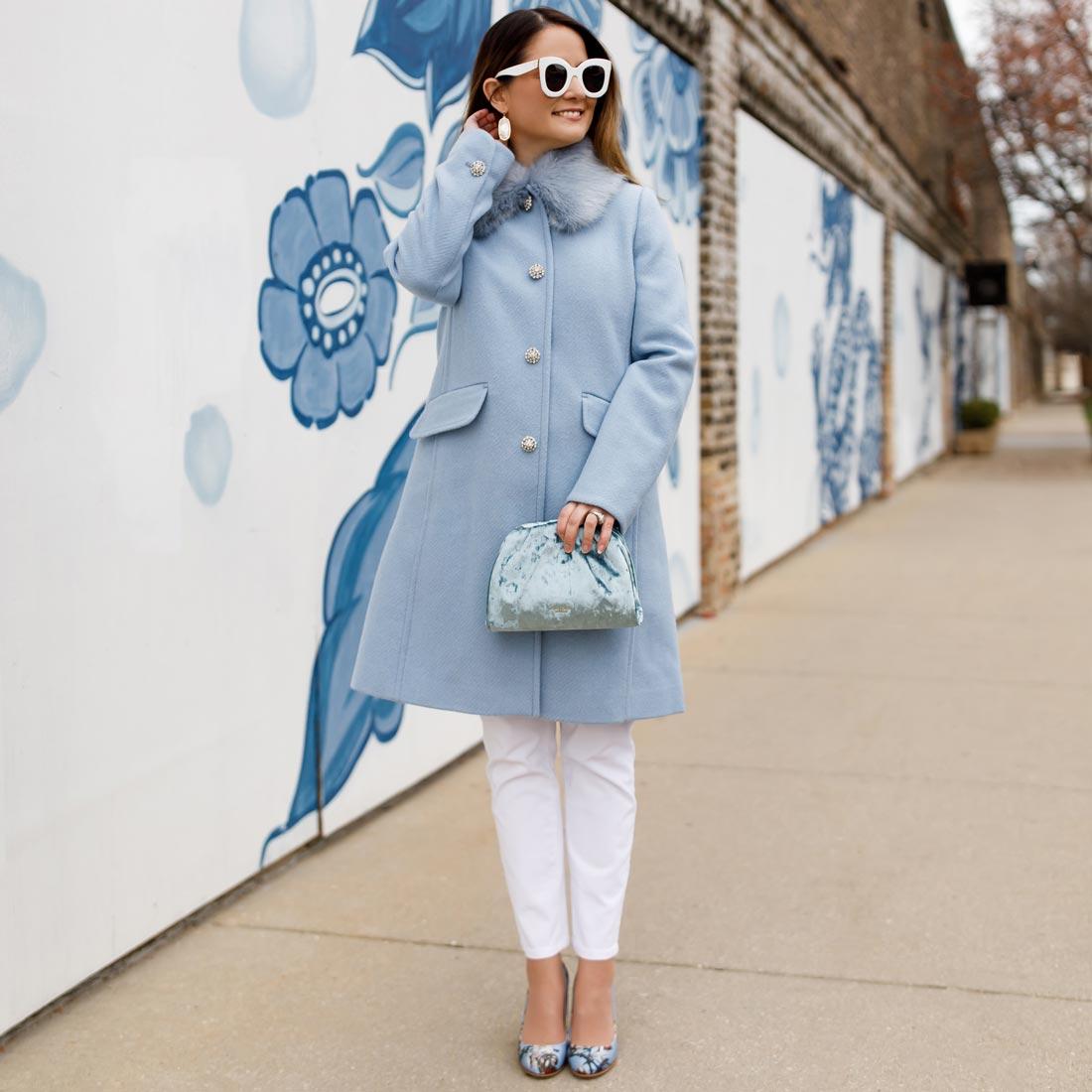 Jennifer Lake Blue Kate Spade Coat