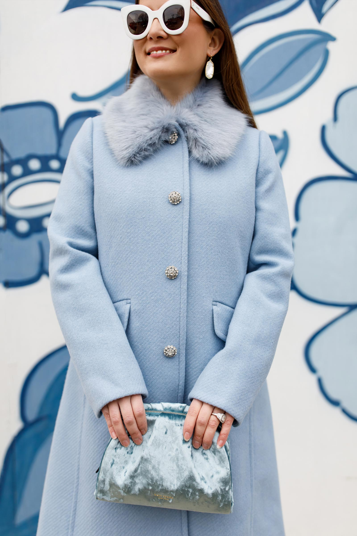 Jennifer Lake Kate Spade Crystal Button Blue Coat