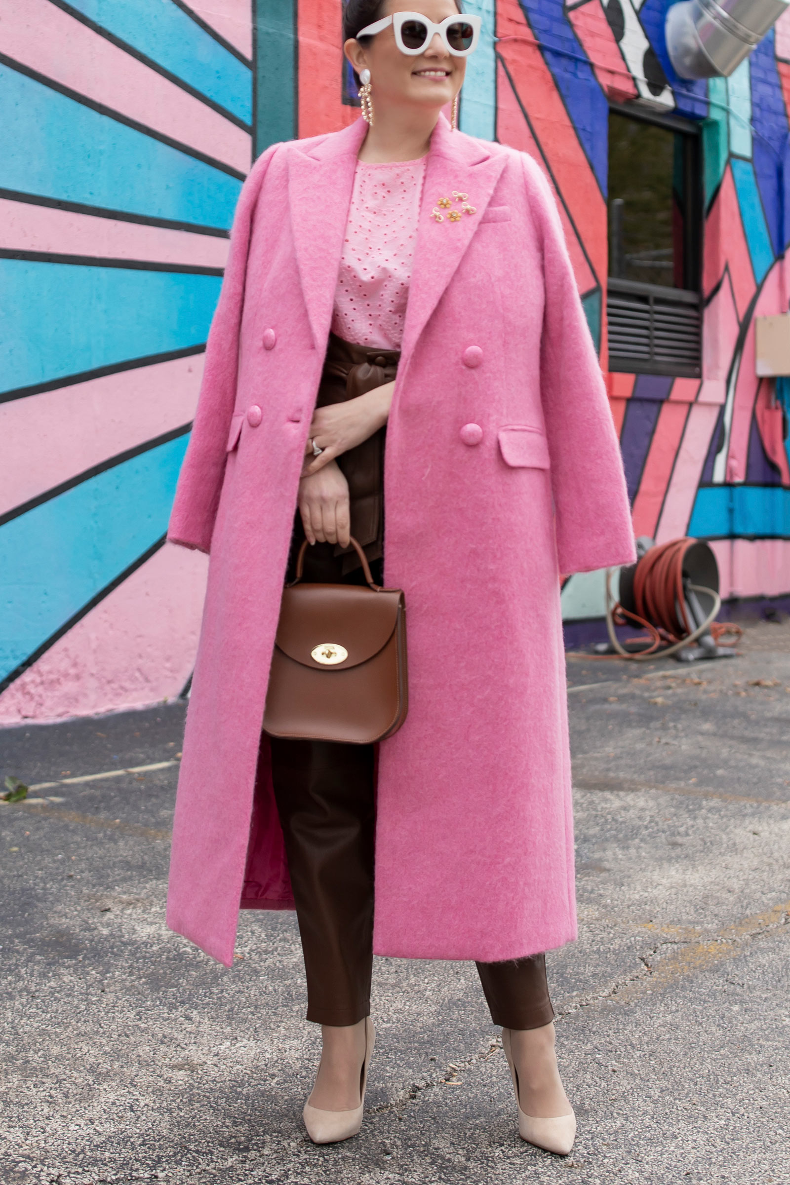 Jennifer Lake LoveShackFancy Pink Coat