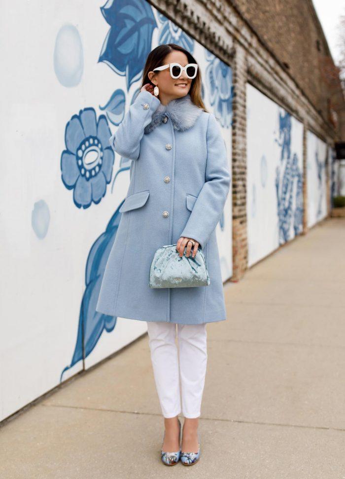 Kate Spade Blue Faux Fur Collar Coat