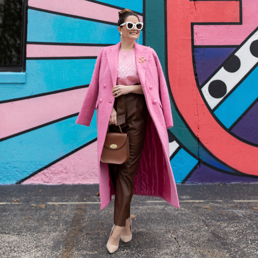 LoveShackFancy Long Pink Coat