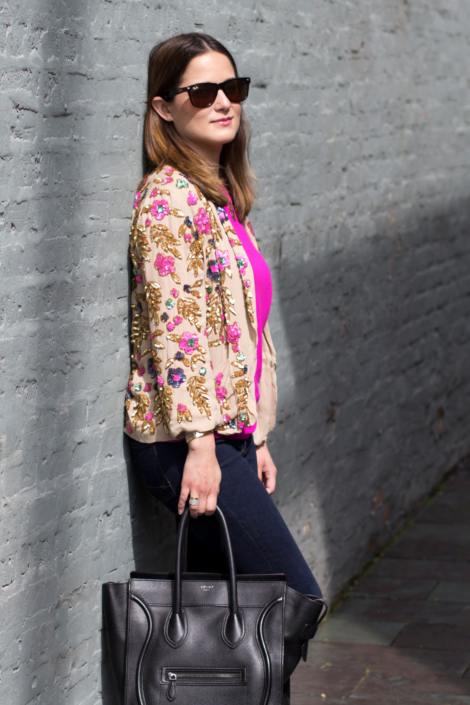 J. Crew Collection Sequin Floral Jacket