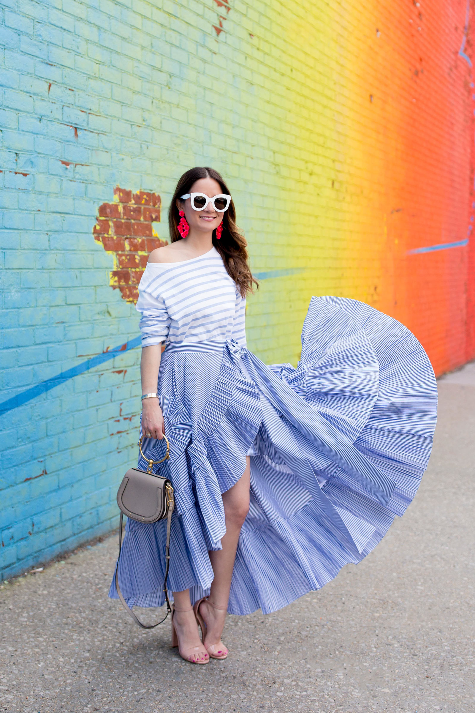 J. Crew Collection Stripe Ruffle Skirt