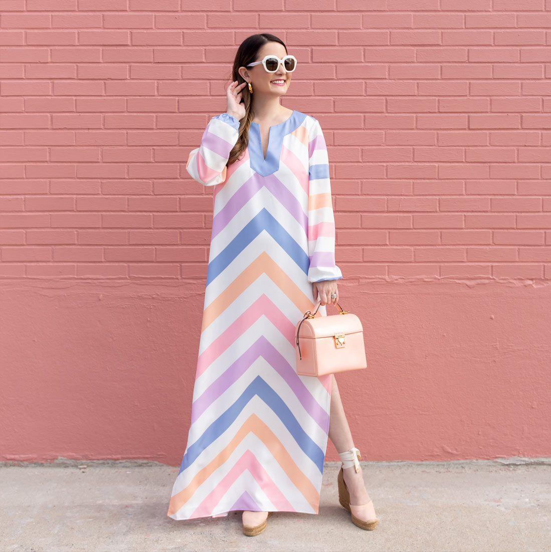 Jennifer Lake Chevron Caftan Dress