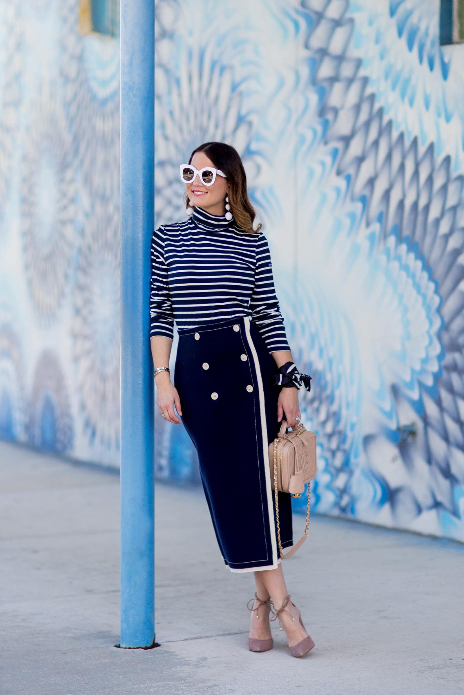 Jennifer Lake J. Crew Collection Nautical Skirt