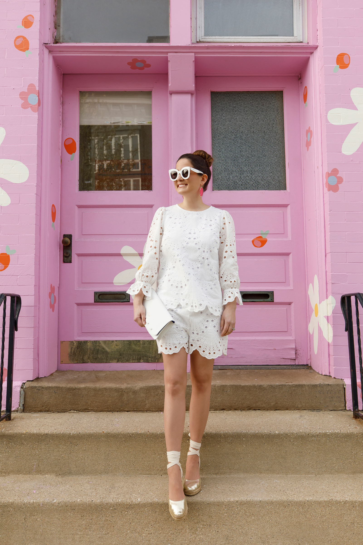 Jennifer Lake White Eyelet Shorts