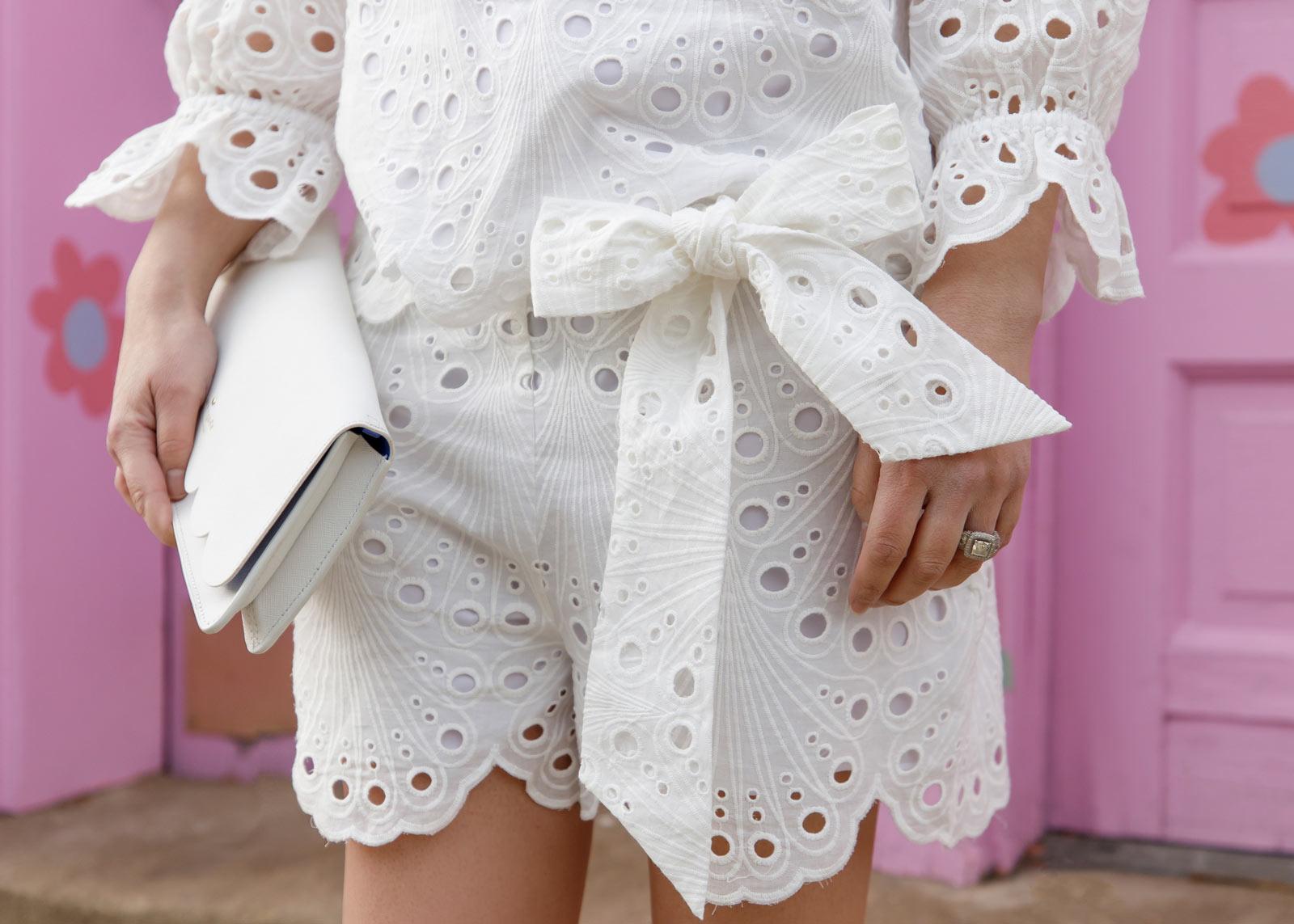 White Eyelet Bow Shorts