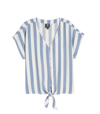 Bobeau Blue Striped Top