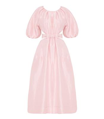 Aje Pink Mimosa Cutout Silk Midi Dress