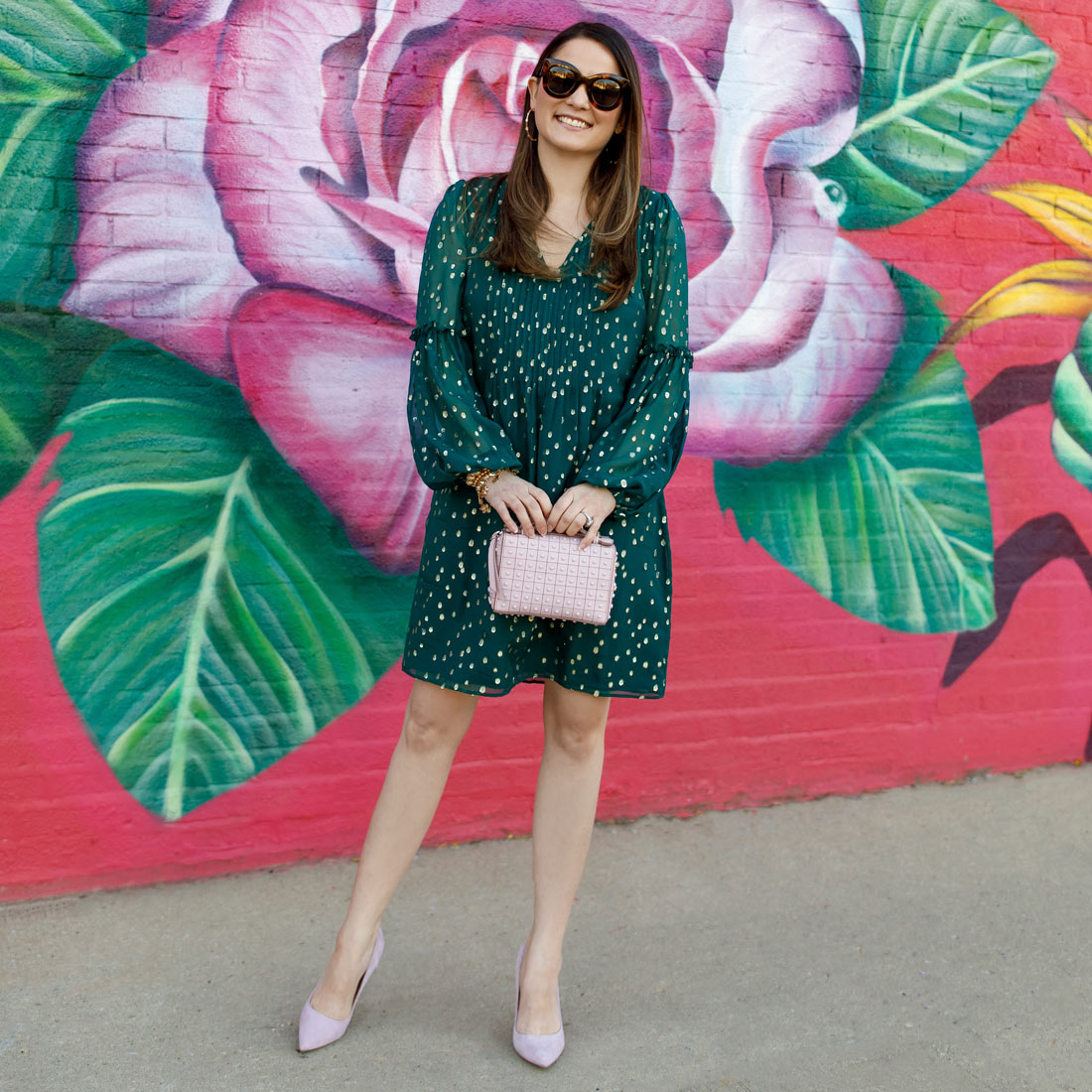 Jennifer Lake Lilly Pulitzer Emerald Green Polka Dot Dress