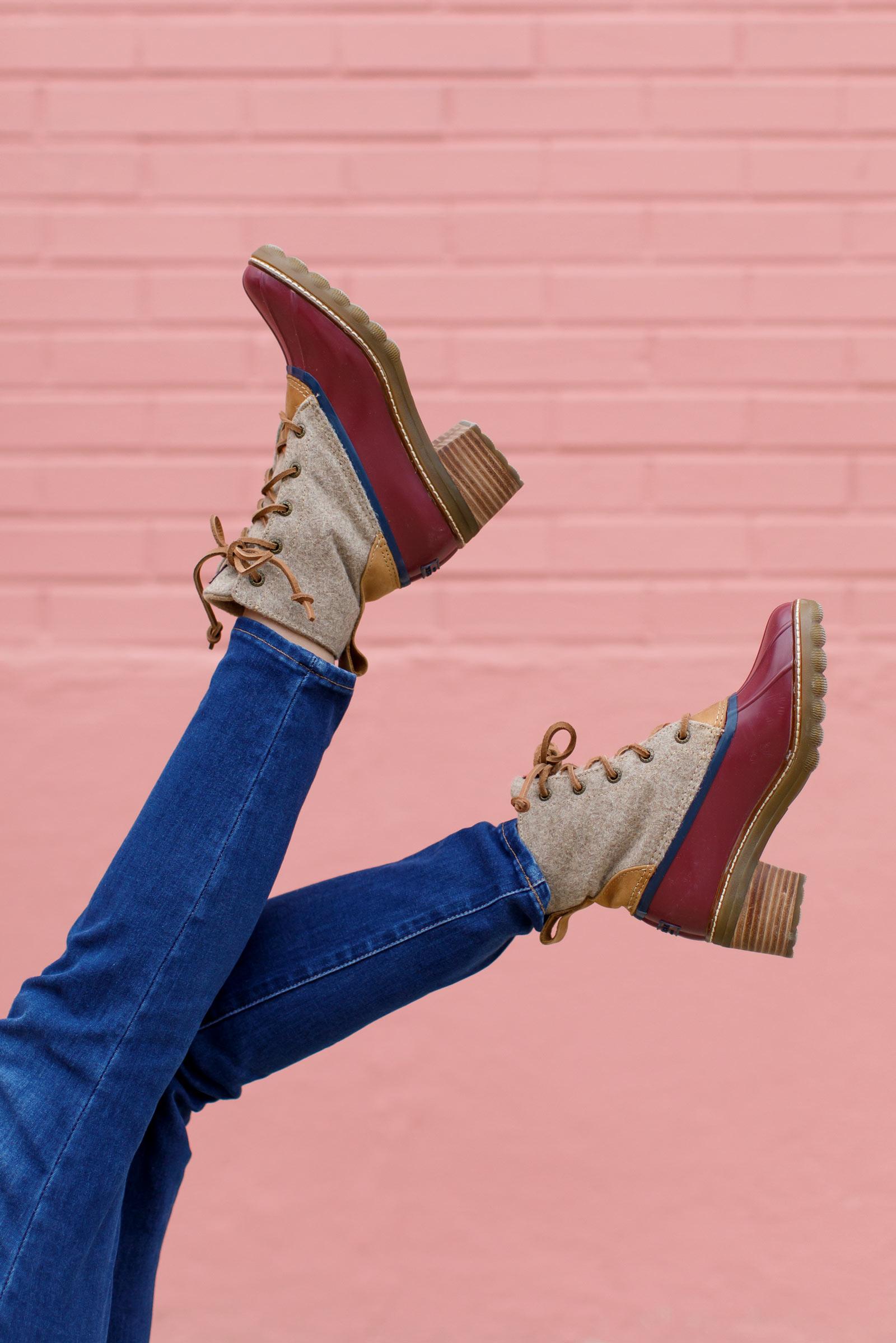 Jennifer Lake Sperry Saltwater Heel Wool Boot