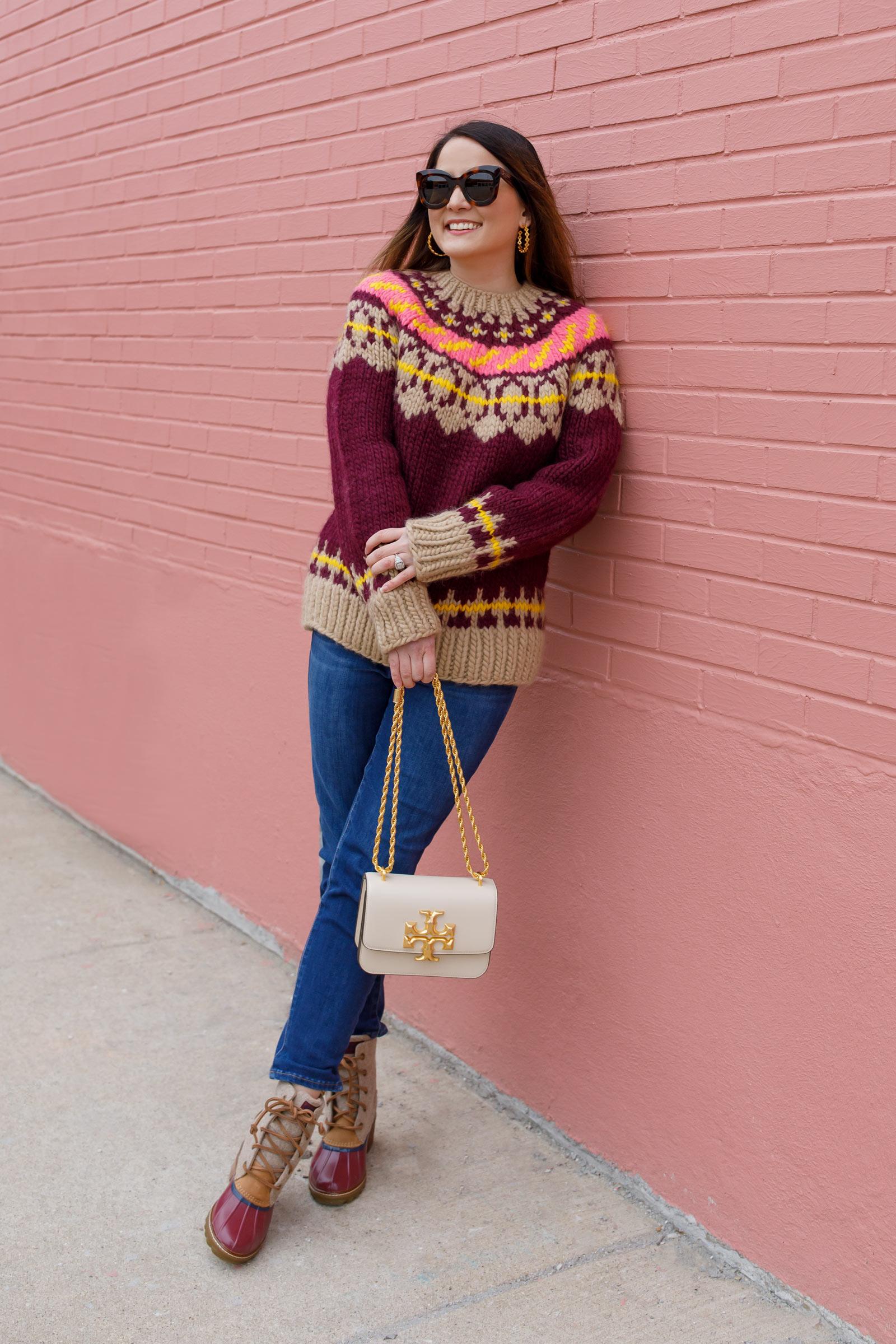 Jennifer Lake Tory Burch Burgundy Sweater