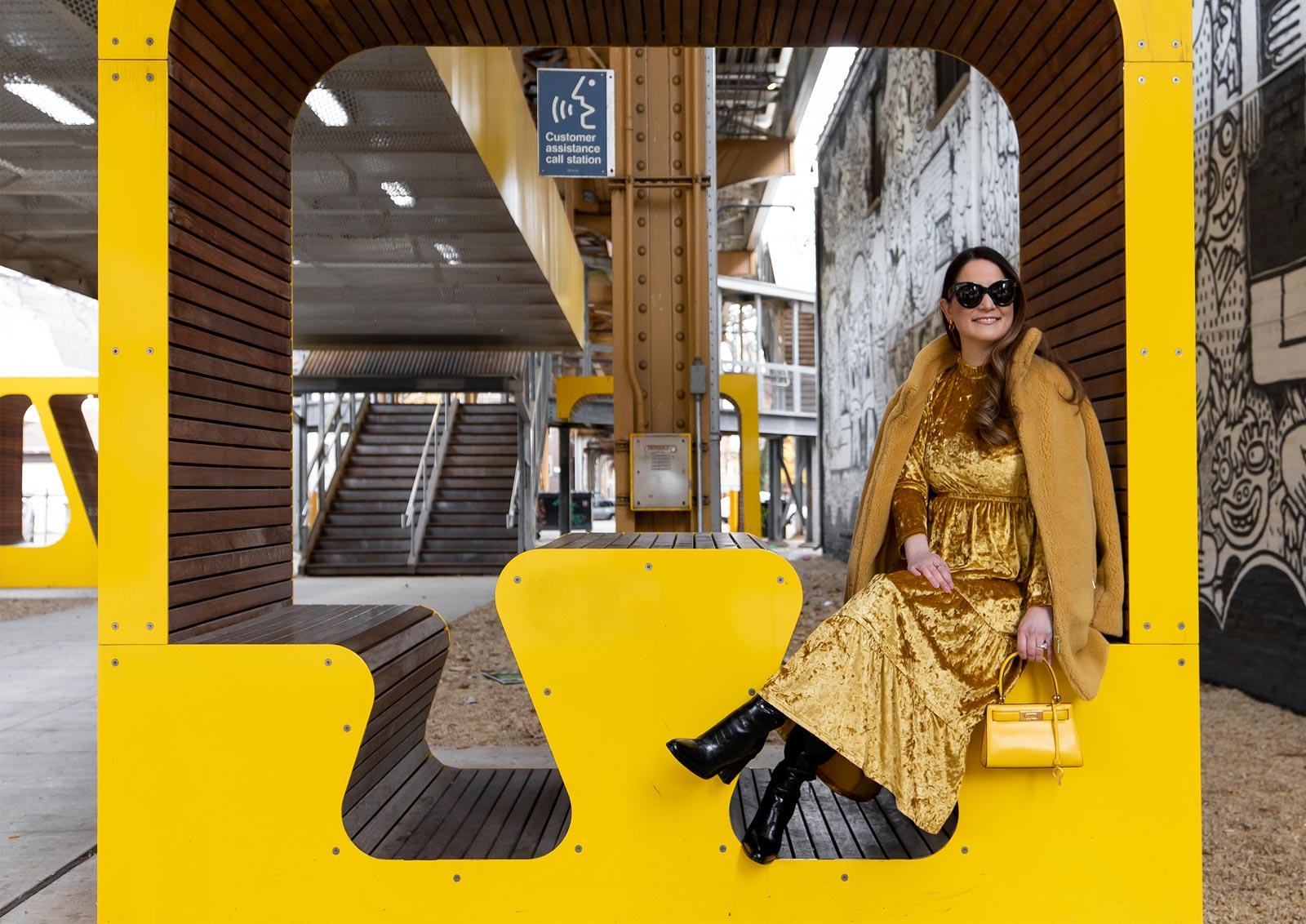 Jennifer Lake Tuckernuck Yellow Velvet Dress