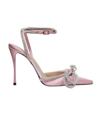 Mach Mach Pink Crystal Bow Embellished Pumps