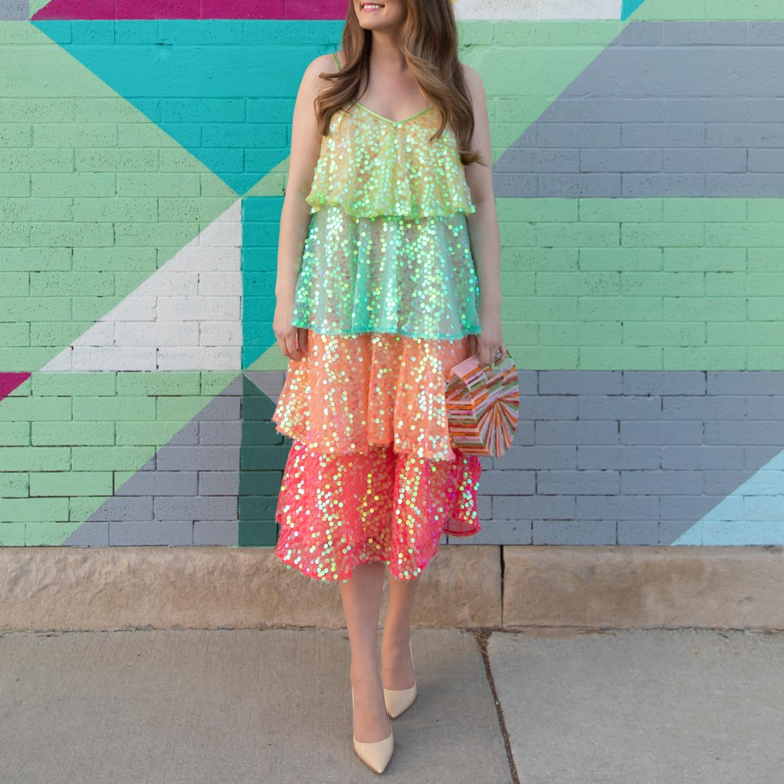 Rainbow Sequin Tiered Dress