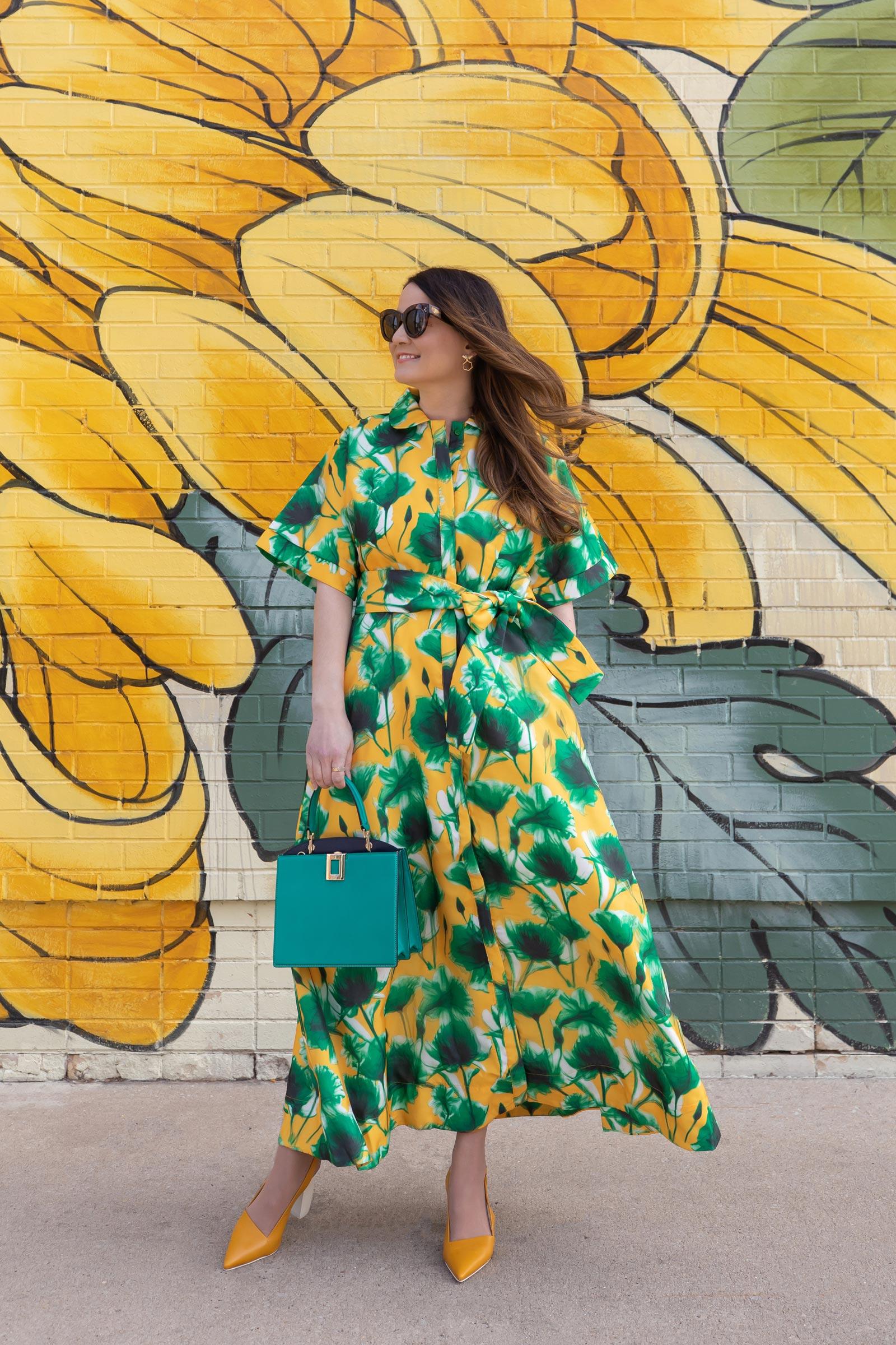 Shop BURU Green Floral Dress
