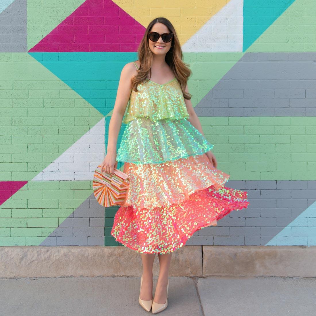 Tiered Rainbow Sequin Dress