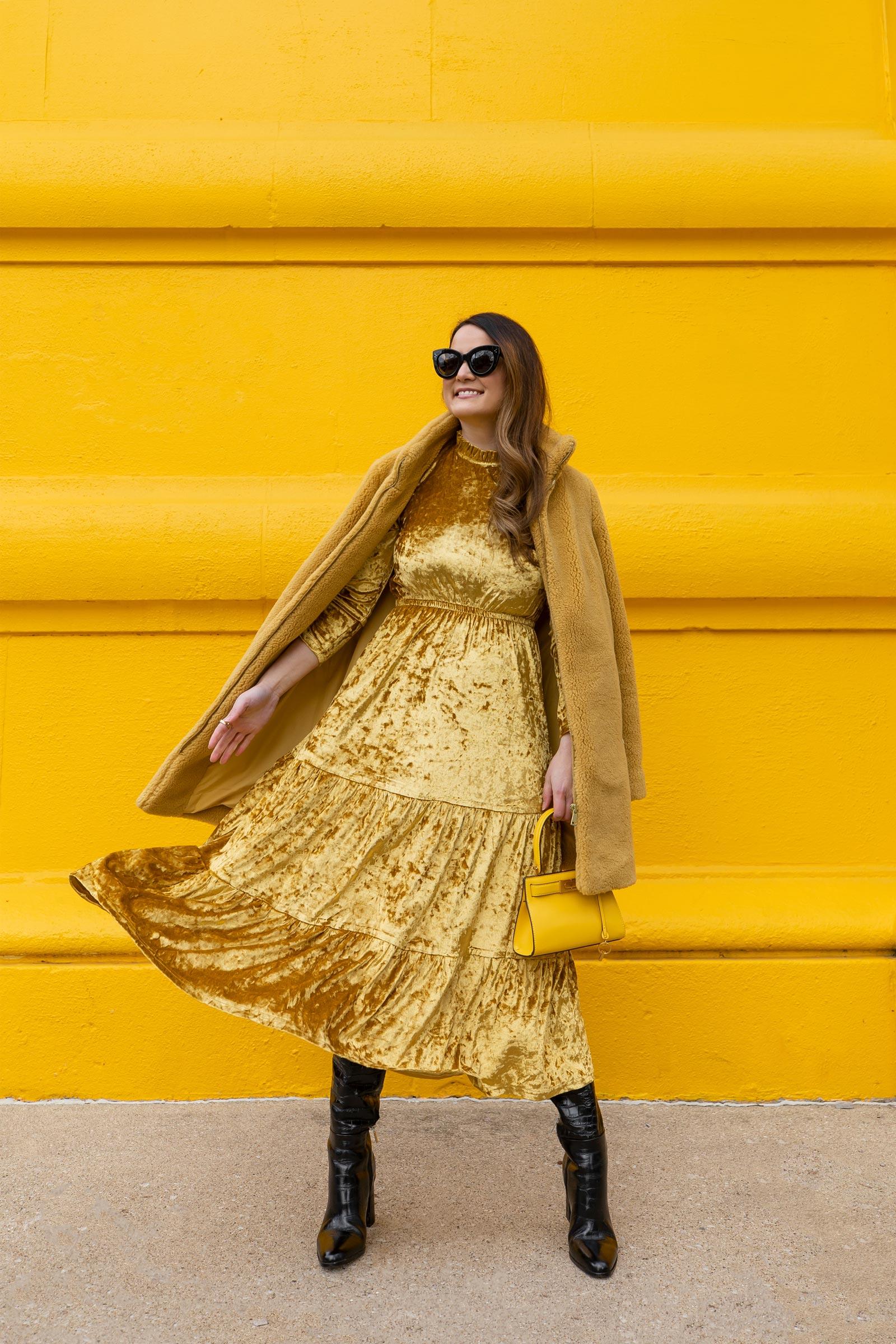Yellow Velvet Tiered Dress Tuckernuck Style Charade