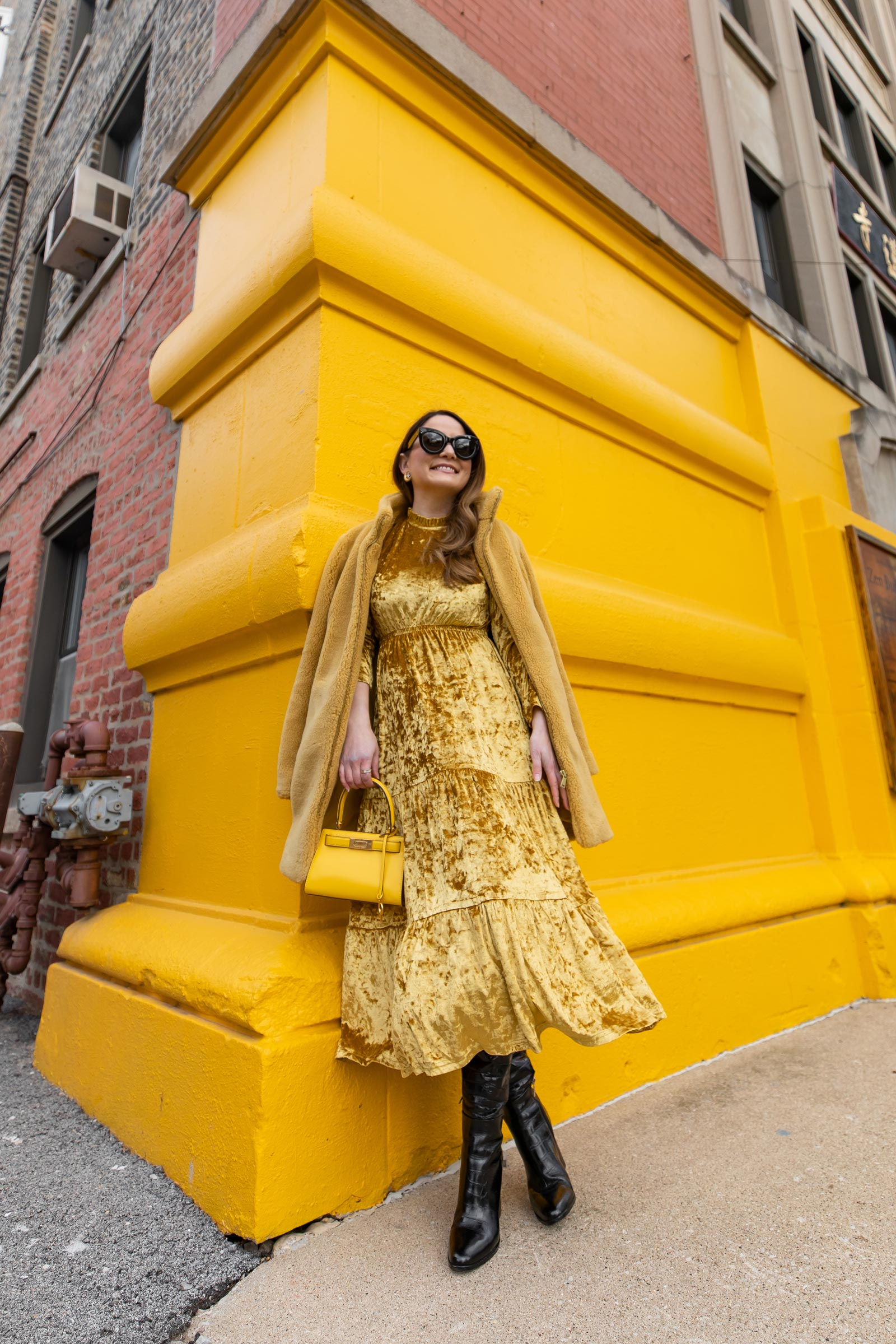 Yellow Tiered Velvet Dress