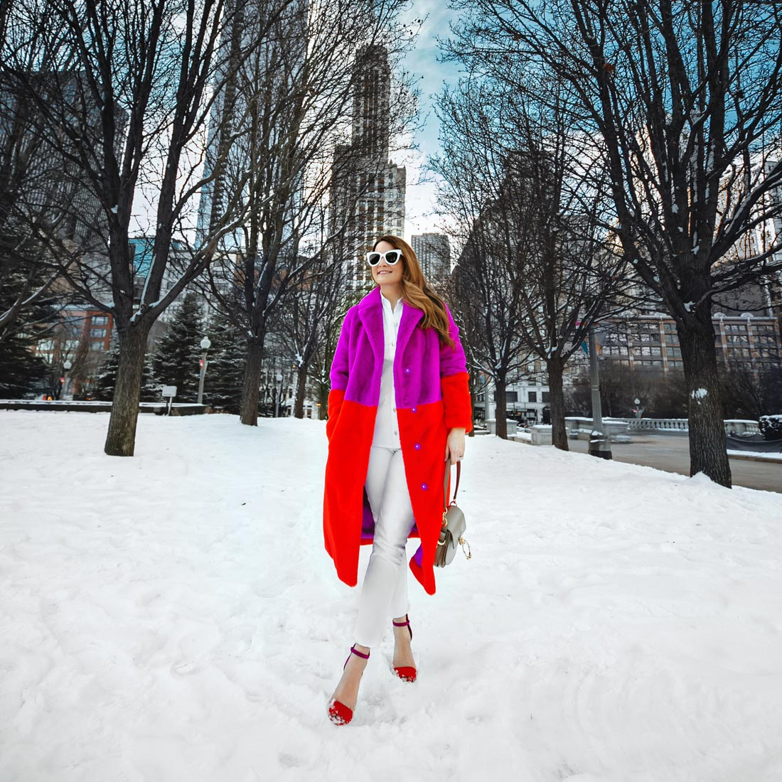 Red Purple Colorblock Faux Fur Coat