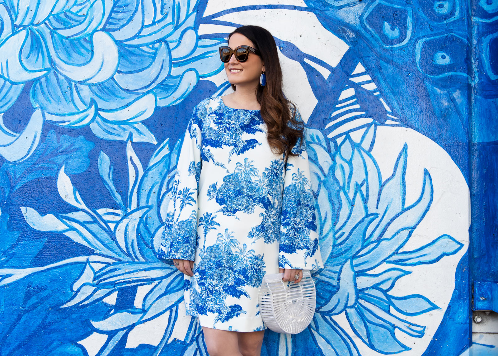 Jennifer Lake Blue Chinoiserie Dress