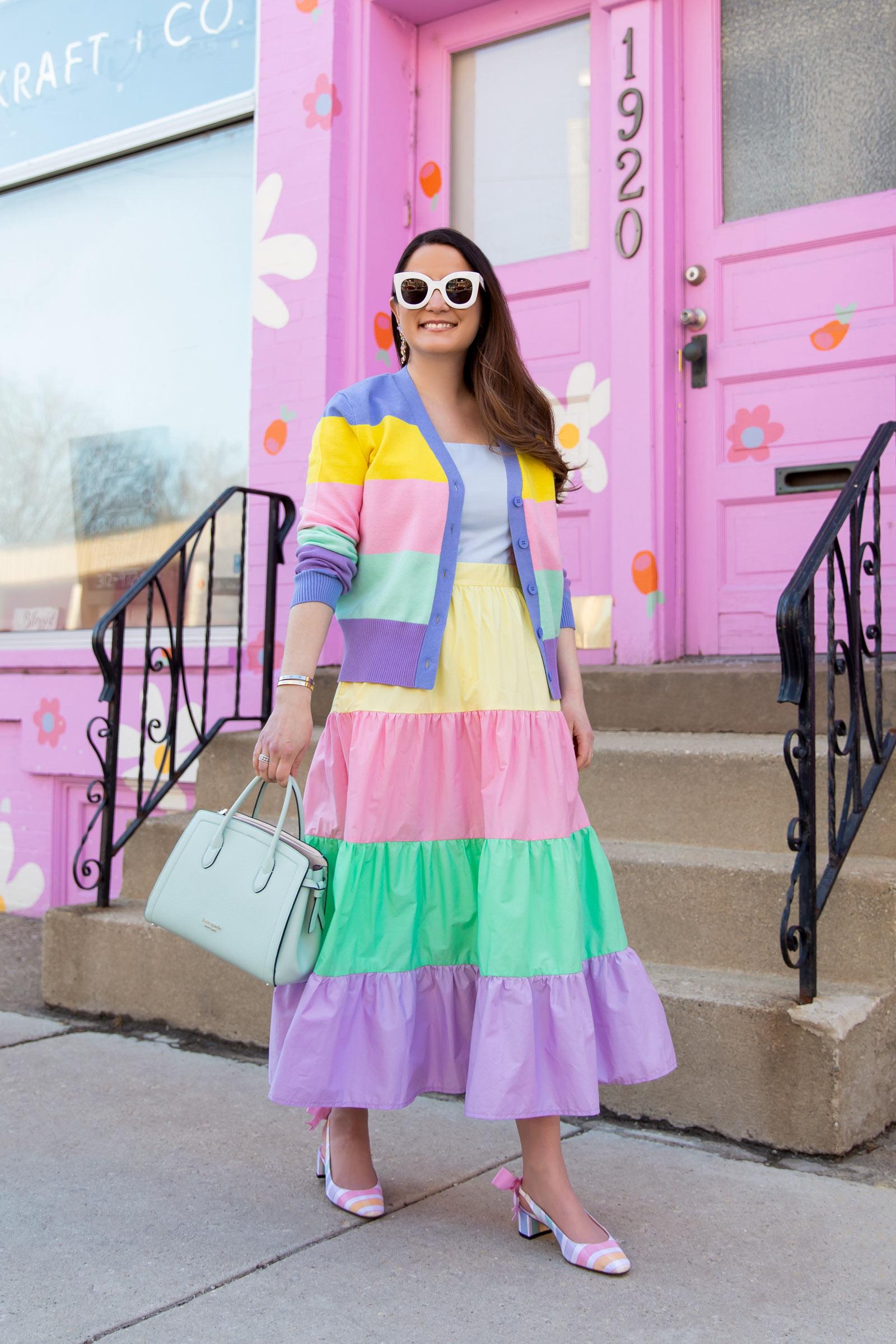 Jennifer Lake Pastel Tiered Dress