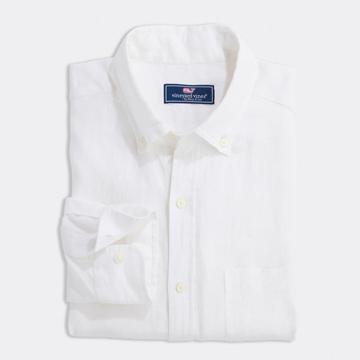 men's white linen shirt