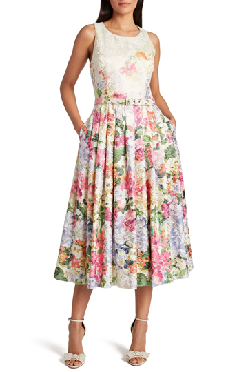 Tahari Floral Midi Dress