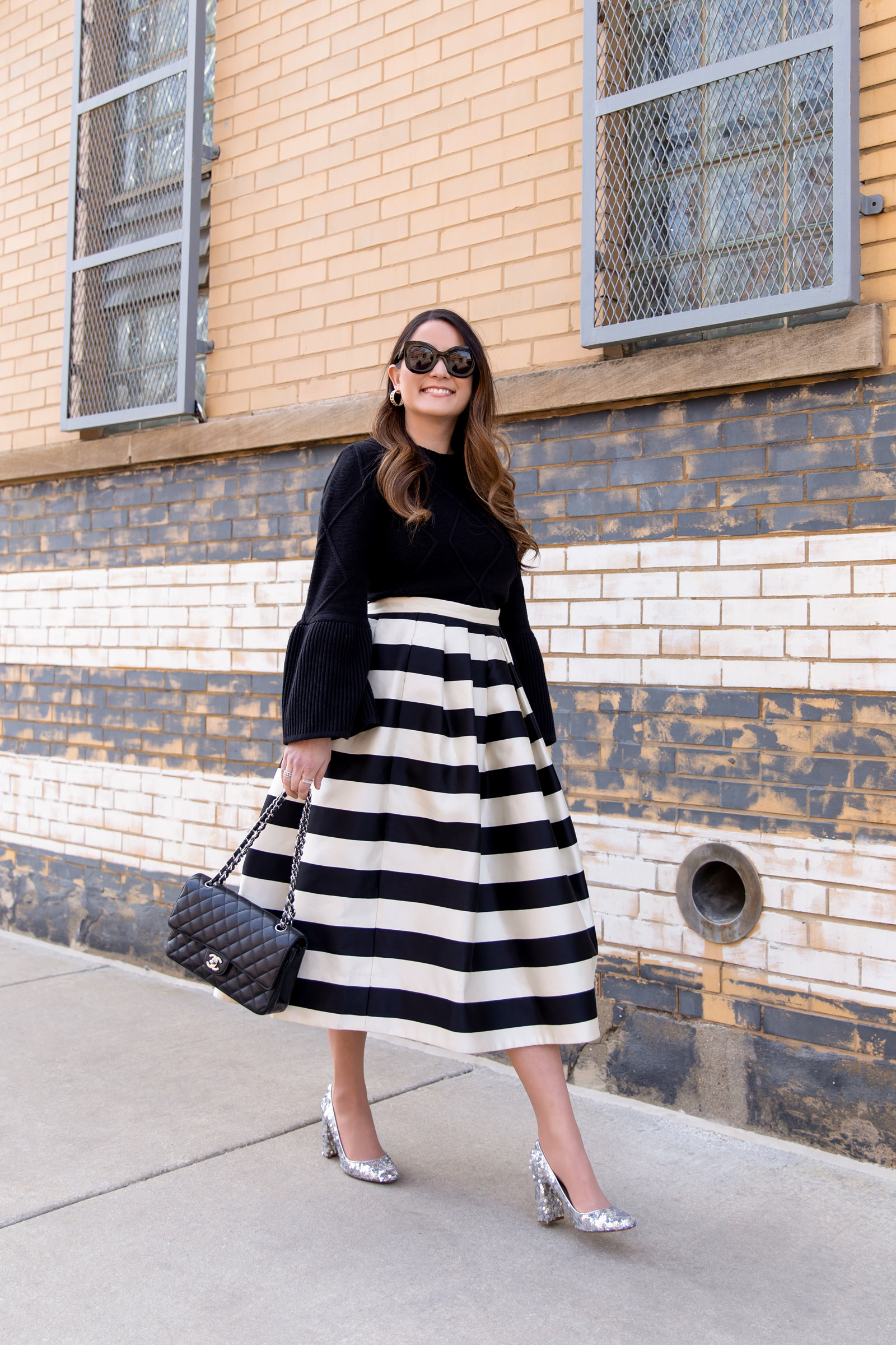 Black White Pleated Midi Skirt