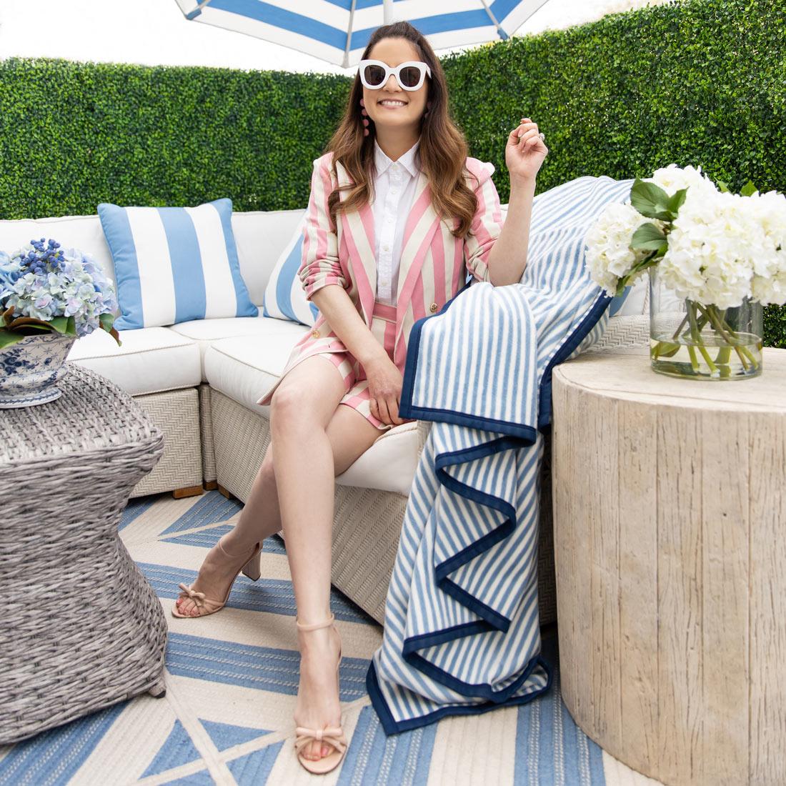 Blue Stripe Fleece Blanket
