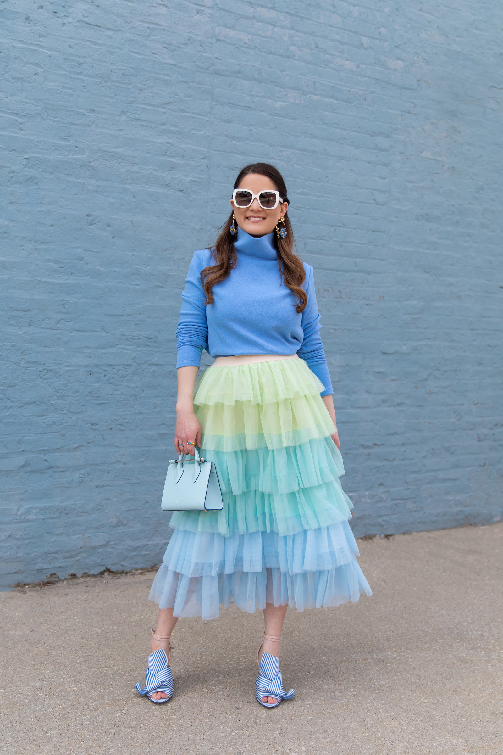 Blue Tiered Tulle Midi Skirt