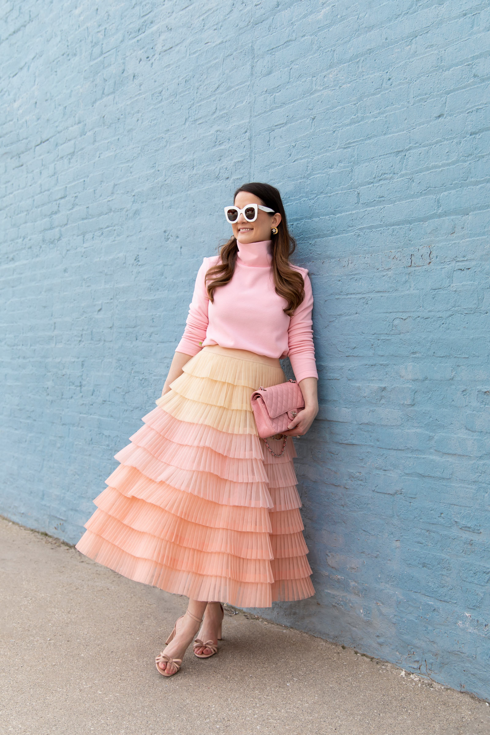 Blush Pink Pleated Tulle Tiered Midi Skirt