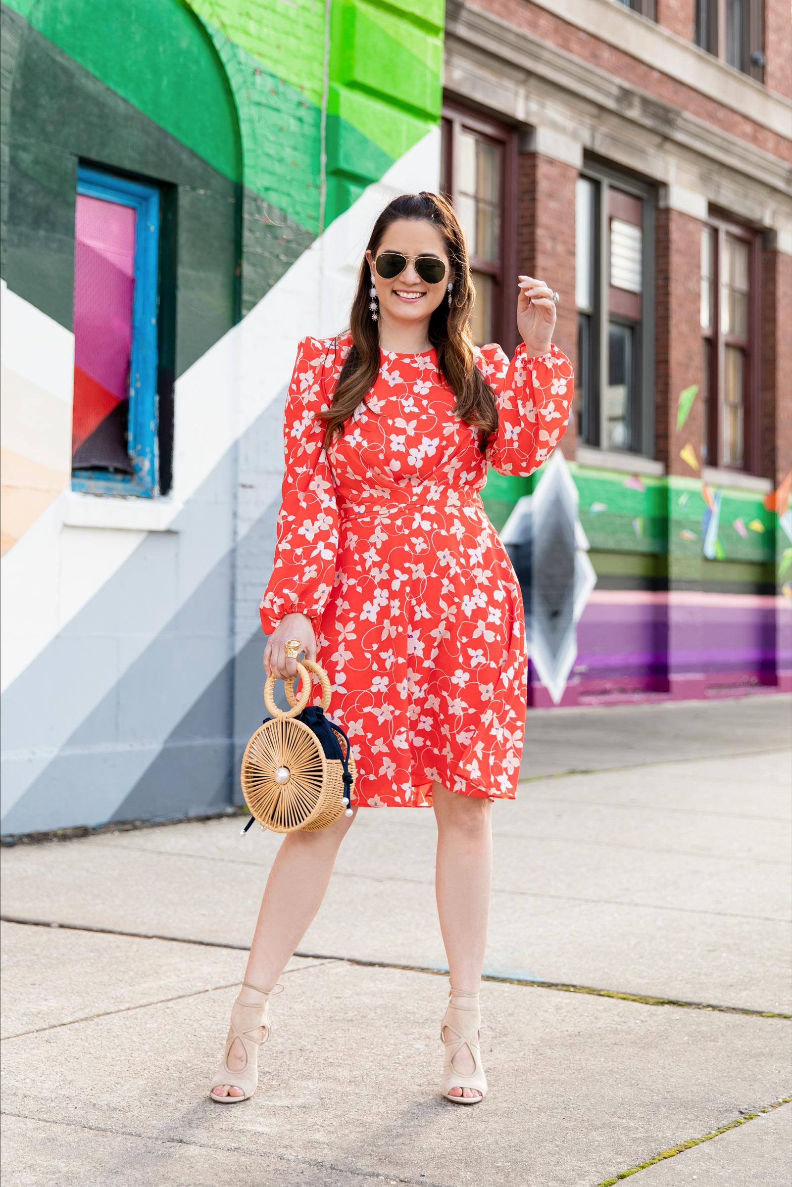 Eliza J Orange Floral Dress