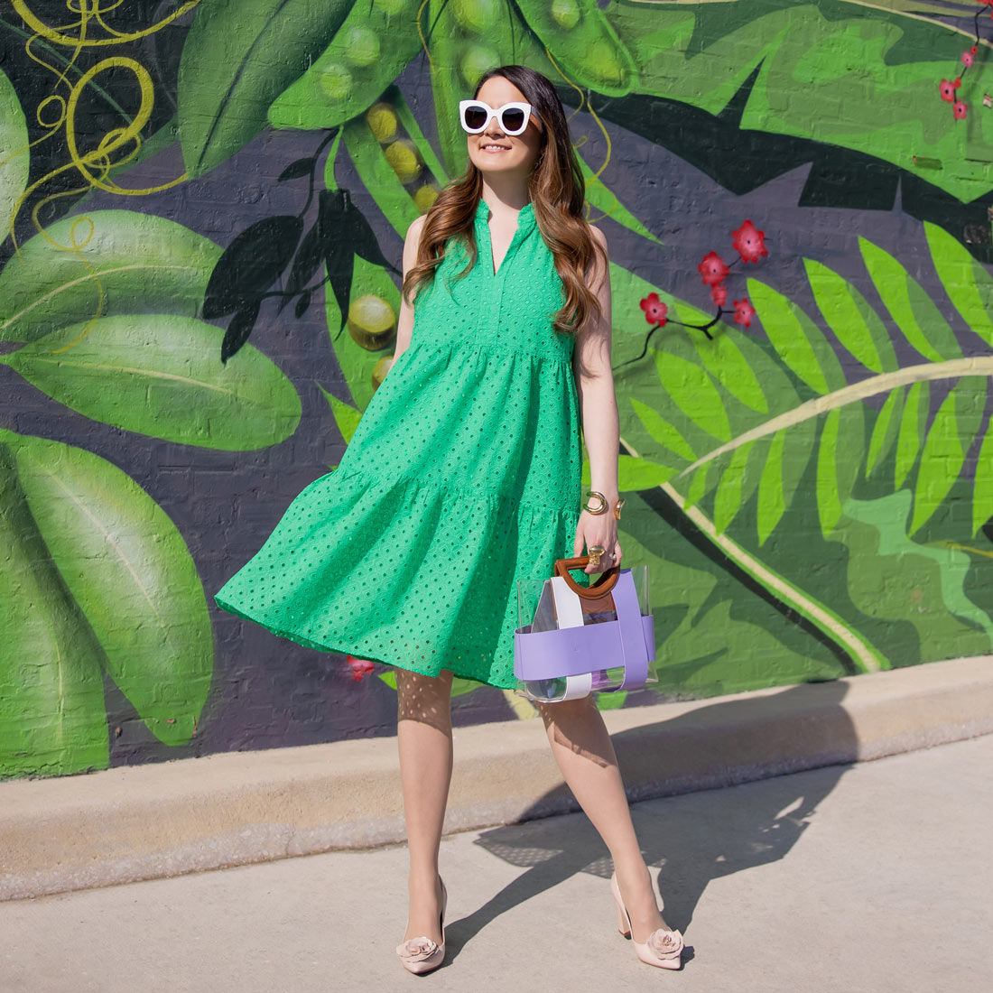 Green Eyelet Tiered Dress