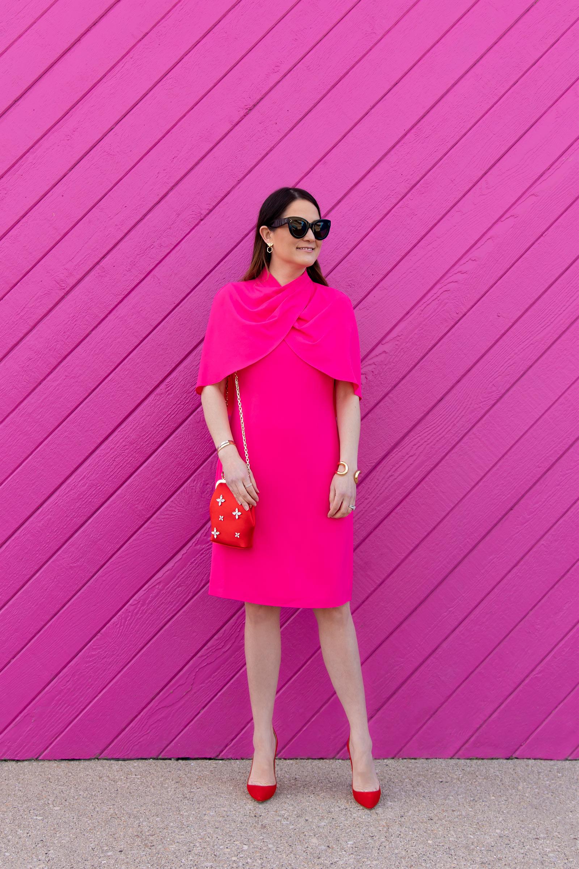 Jennifer Lake Pink Cape Dress