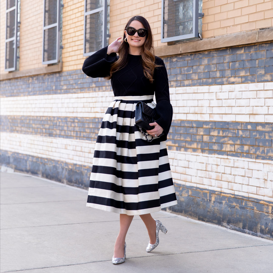 Jennifer Lake Stripe Skirt