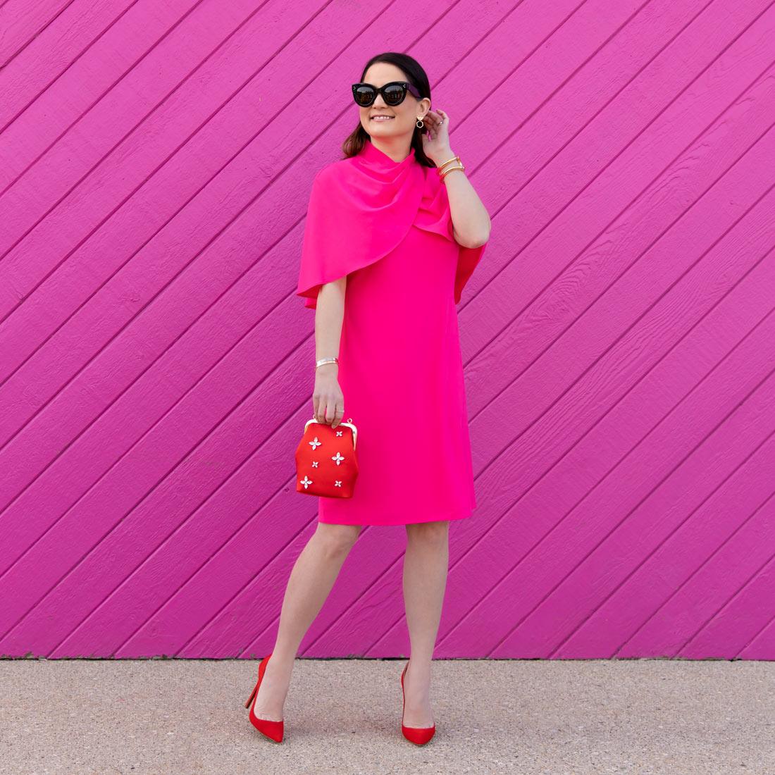 Jennifer Lake Tahari Pink Drape Dress