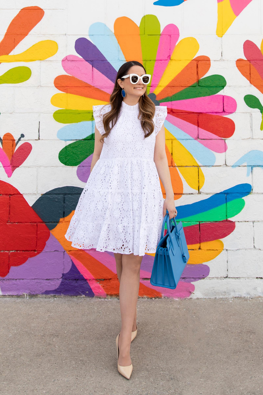 Jennifer Lake White Eyelet Tiered Dress