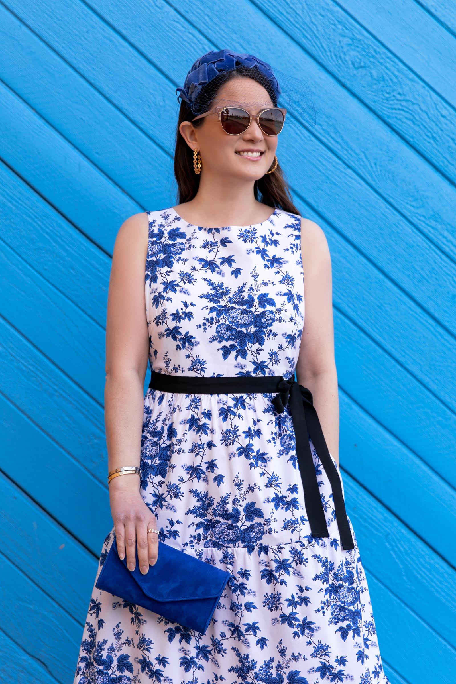 LK Bennett Blue Floral Royal Ascot