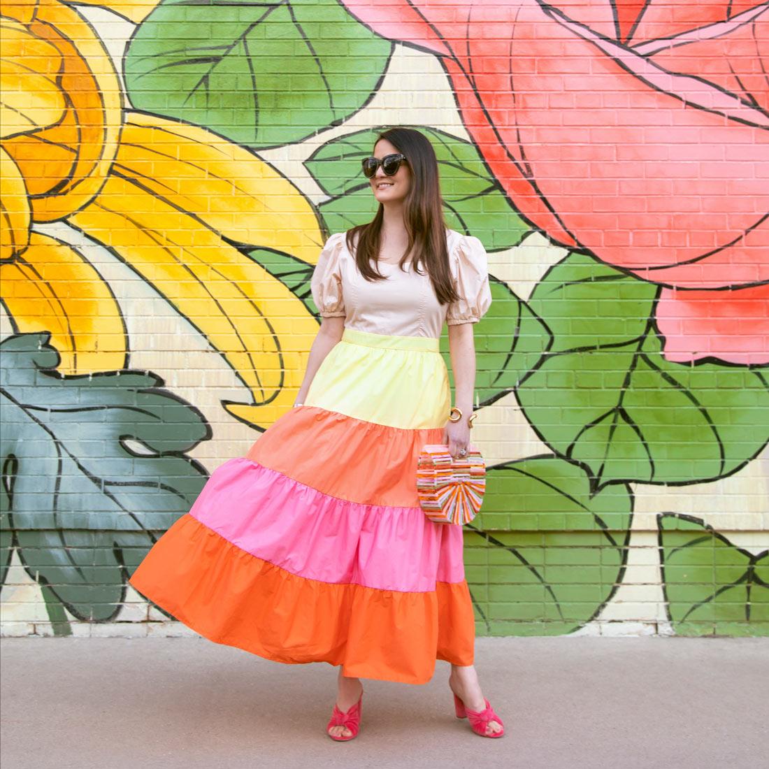 Multicolor Tiered Midi Dress