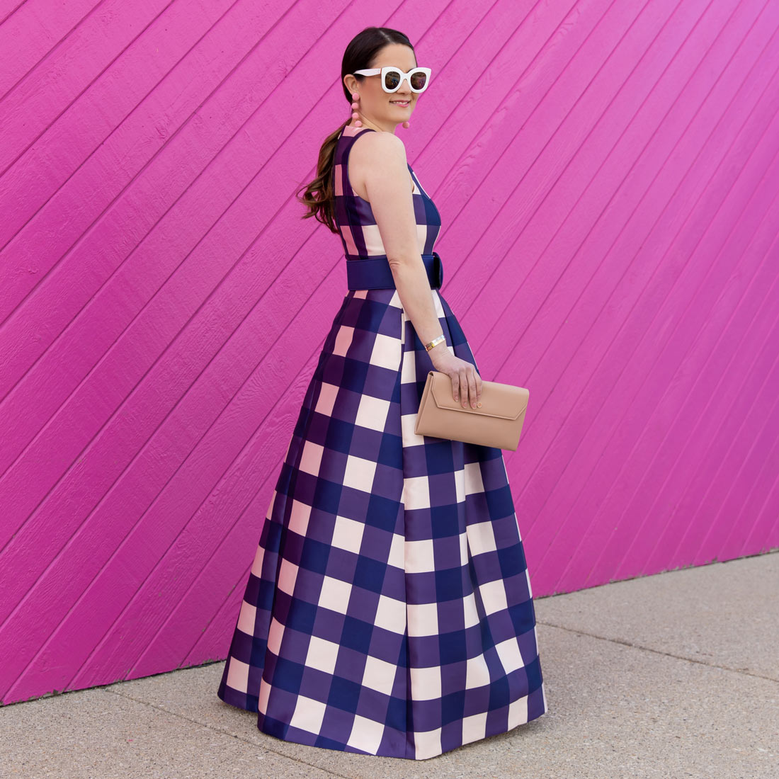 Navy Gingham Gown