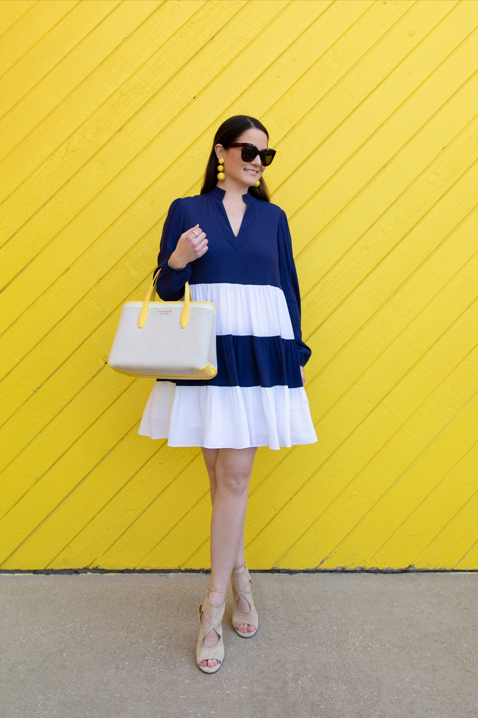Navy White Colorblock Dress