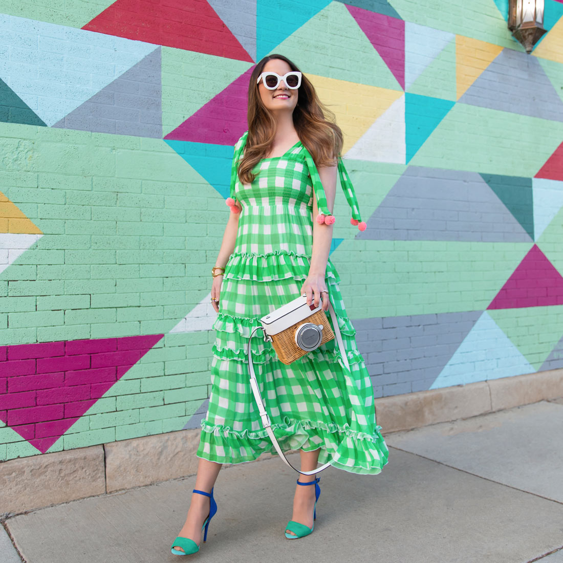 Sundress Green Gingham Pink Pom